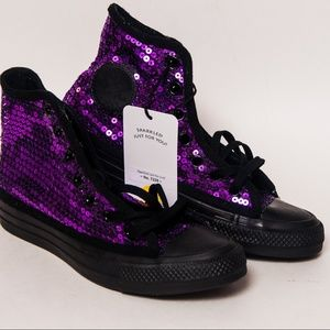 Purple Sequin on Black Monochrome Converse Hi Top